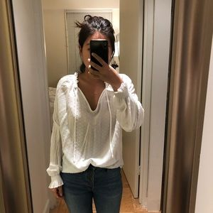 White H&M smocked sleeve blouse with Swiss dots